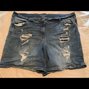 Maurice's long distressed shorts